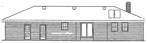 Florida Traditional Rear Elevation of Plan 90682