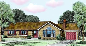 House Plan 90692 | Ranch Style Plan with 1492 Sq Ft, 3 Bedrooms, 2 Bathrooms, 1 Car Garage Elevation