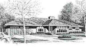 House Plan 90697 | Contemporary Style Plan with 1713 Sq Ft, 3 Bedrooms, 2 Bathrooms, 2 Car Garage Elevation