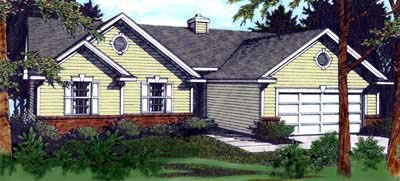 One-Story, Ranch, Traditional House Plan 90705 with 3 Beds, 2 Baths, 2 Car Garage Front Elevation