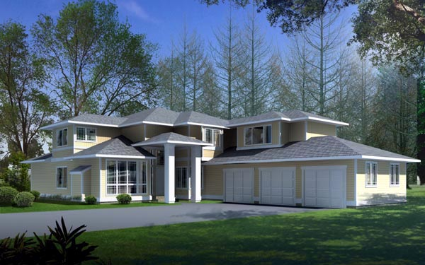 Contemporary Prairie Style Southwest House Plan 90715 Elevation