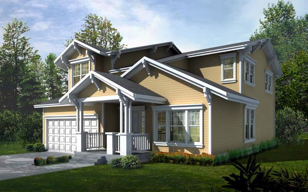 Craftsman, Narrow Lot House Plan 90716 with 4 Beds, 3 Baths, 2 Car Garage Elevation