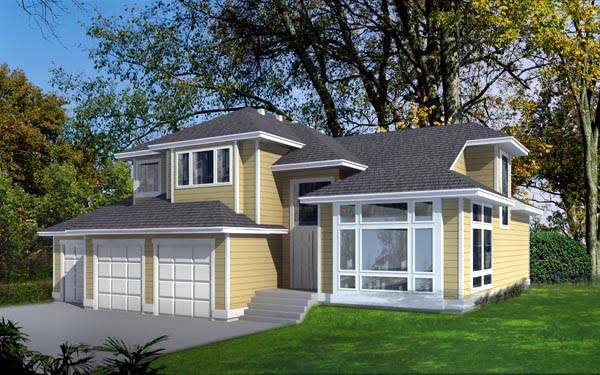 Contemporary Traditional House Plan 90720 Elevation