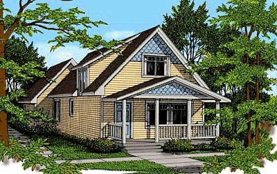 Craftsman, Narrow Lot House Plan 90725 with 3 Beds, 2 Baths, 2 Car Garage Elevation