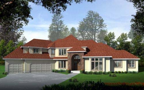 Traditional House Plan 90729 with 4 Beds , 4 Baths , 3 Car Garage Elevation