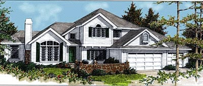Traditional House Plan 90737 with 4 Beds, 3 Baths, 3 Car Garage Elevation