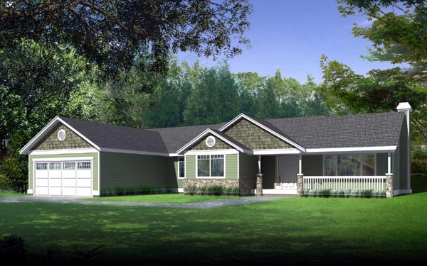 Country Ranch House Plan 90741 Elevation