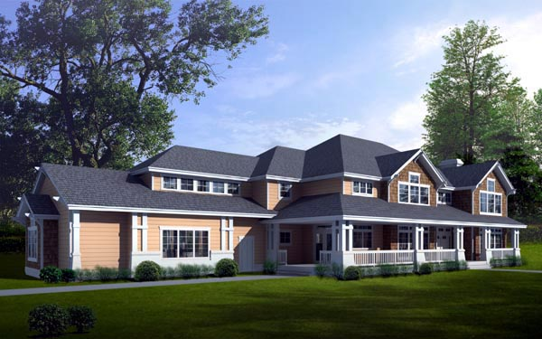 Country Craftsman House Plan 90746 Elevation