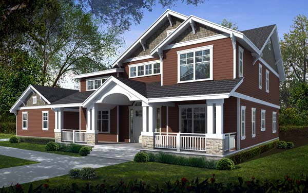 Country Craftsman House Plan 90751 Elevation