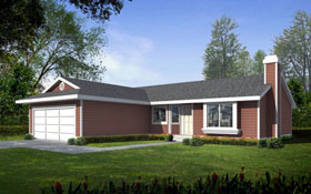 Ranch House Plan 90754 Elevation