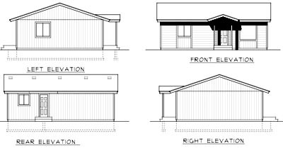 Cabin, Ranch House Plan 90756 with 2 Beds , 1 Baths Rear Elevation
