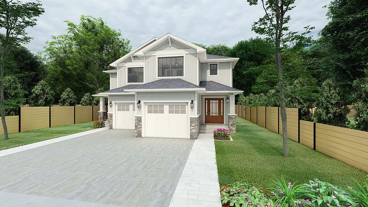 Craftsman Multi-Family Plan 90811 Elevation