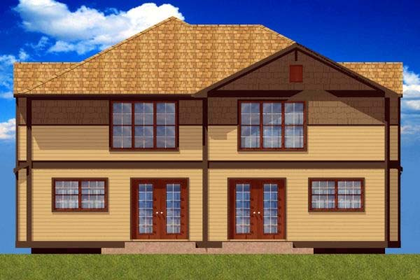 Craftsman Multi-Family Plan 90811 with 6 Beds, 6 Baths, 2 Car Garage Rear Elevation
