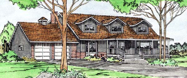 House Plan 90816 | Country Style Plan with 2369 Sq Ft, 4 Bedrooms, 3 Bathrooms, 2 Car Garage Elevation