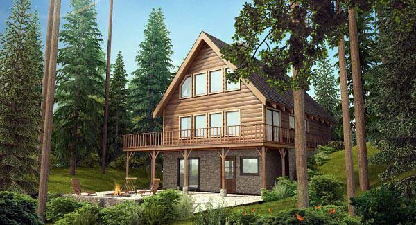 Cabin, Country House Plan 90822 with 3 Beds, 2 Baths Elevation
