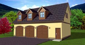 3 Car Garage Apartment Plan 90833 with 1 Beds, 2 Baths Elevation