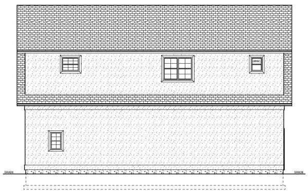 3 Car Garage Apartment Plan 90833 with 1 Beds, 2 Baths Rear Elevation
