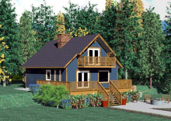 Cabin House Plan 90847 with 2 Beds, 2 Baths Elevation