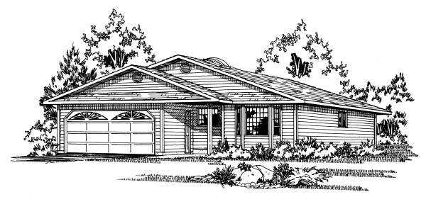 Traditional House Plan 90857 with 3 Beds, 2 Baths, 2 Car Garage Elevation