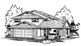 House Plan 90858 | Contemporary Traditional Style Plan with 2292 Sq Ft, 3 Bedrooms, 3 Bathrooms, 2 Car Garage Elevation