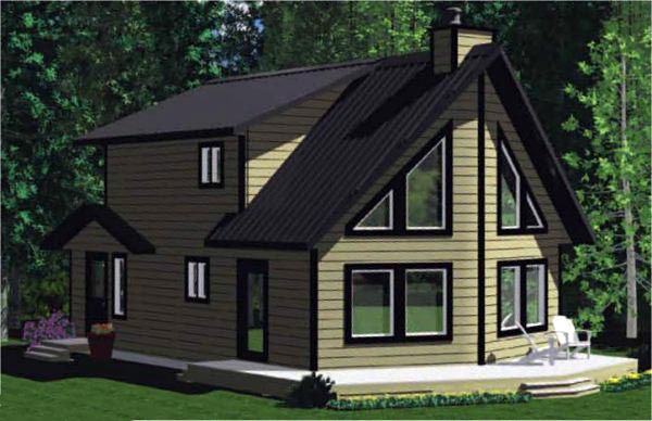 Cabin, Contemporary House Plan 90859 with 3 Beds, 2 Baths Front Elevation