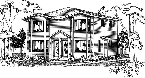 Contemporary Traditional Multi-Family Plan 90863 Elevation