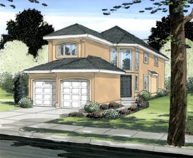 House Plan 90876 | European Mediterranean Traditional Style Plan with 1760 Sq Ft, 3 Bedrooms, 3 Bathrooms, 2 Car Garage Elevation