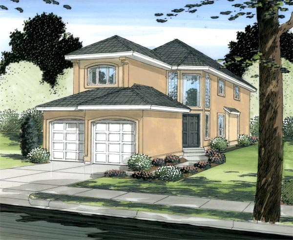 European Mediterranean Traditional House Plan 90876 Elevation