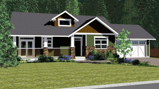 Craftsman, Traditional House Plan 90877 with 2 Beds, 2 Baths, 2 Car Garage Elevation