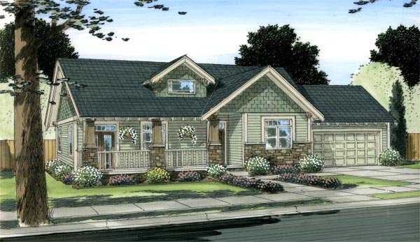 Craftsman, Traditional House Plan 90877 with 2 Beds, 2 Baths, 2 Car Garage Picture 1