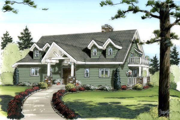 Country Traditional Elevation of Plan 90879