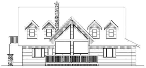 Country Traditional Rear Elevation of Plan 90879