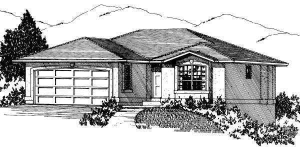 Traditional House Plan 90880 with 2 Beds, 2 Baths, 2 Car Garage Elevation