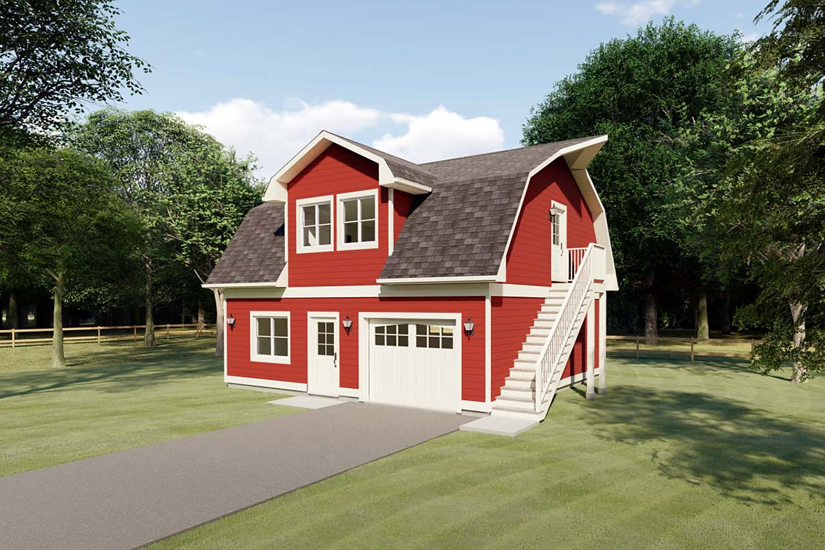 1 Car Garage Apartment Plan 90884 with 1 Beds , 1 Baths Elevation