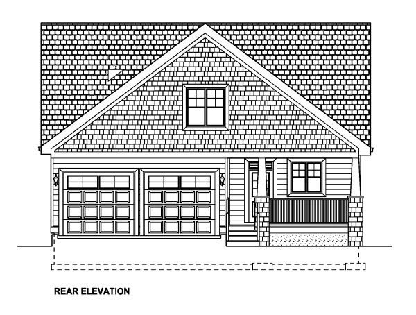 Bungalow Craftsman House Plan 90885 Rear Elevation