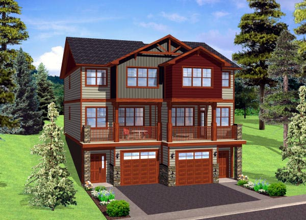 Multi-Family Plan 90887 with 8 Beds, 8 Baths, 2 Car Garage Front Elevation