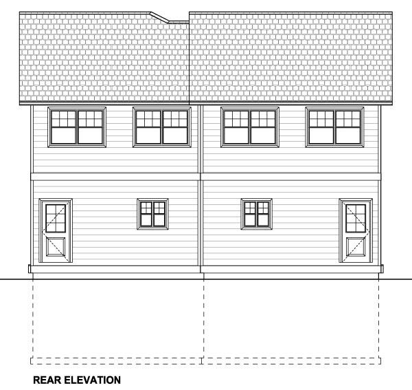 Multi-Family Plan 90887 Rear Elevation