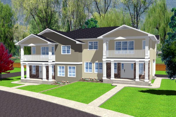 Multi-Family Plan 90888 Elevation
