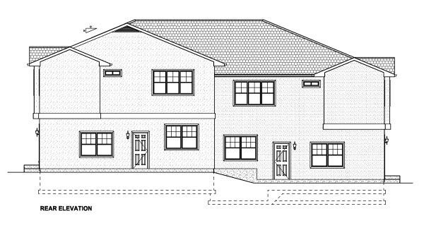 Multi-Family Plan 90888 Rear Elevation