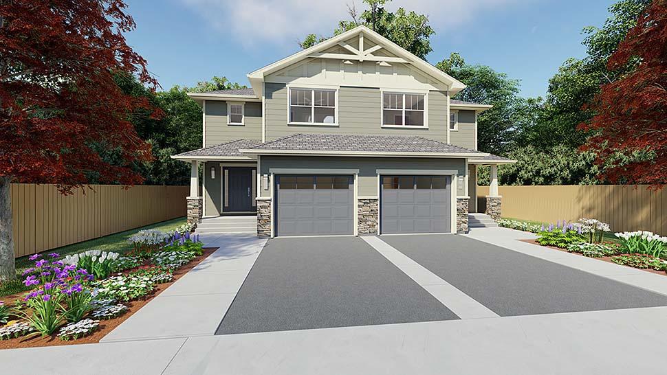 Craftsman Multi-Family Plan 90891 Elevation