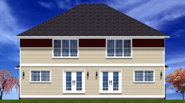 Craftsman Multi-Family Plan 90891 Rear Elevation