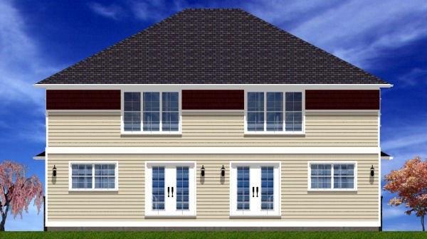 Craftsman Multi-Family Plan 90891 Rear Elevation