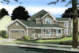 House Plan 90899 | Traditional Style Plan with 2703 Sq Ft, 4 Bedrooms, 3 Bathrooms, 2 Car Garage Elevation