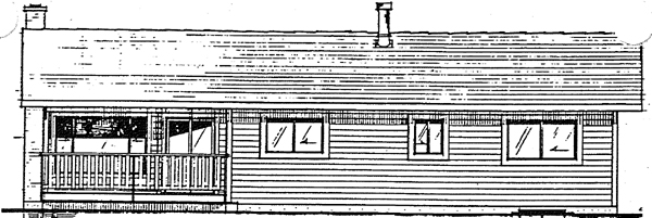 Ranch , Rear Elevation of Plan 90905