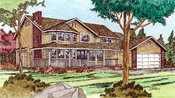 Country, Victorian House Plan 90909 with 3 Beds, 3 Baths, 2 Car Garage Elevation