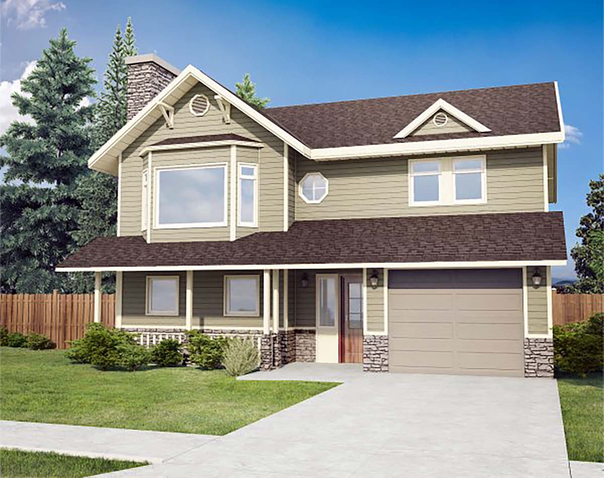 Country House Plan 90914 with 3 Beds, 1 Baths, 1 Car Garage Front Elevation