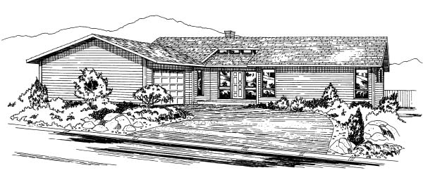Contemporary Ranch House Plan 90926 Elevation