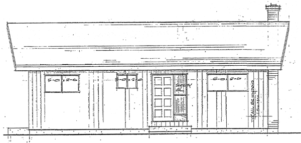 Cabin , Rear Elevation of Plan 90934