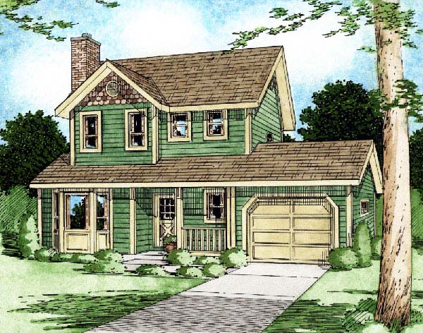 Country, Craftsman House Plan 90951 with 3 Beds , 3 Baths , 1 Car Garage Elevation