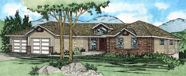 Ranch Southwest House Plan 90954 Elevation